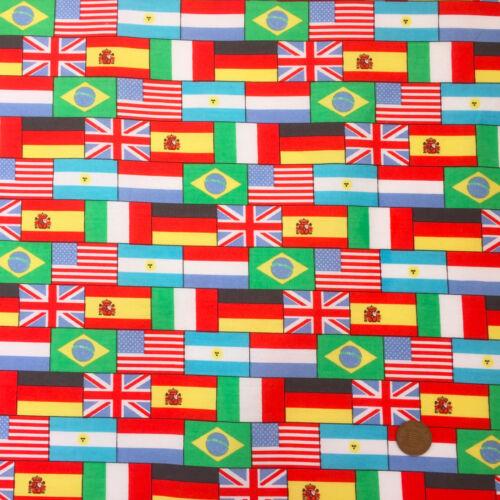 Ancho Por Metro Medio Mundo Bandera Tela 100/% algodón 56 in approx. 142.24 cm