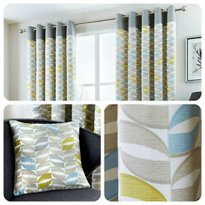 Fusion-COPELAND-Duck-Egg-100-Cotton-Ready-Made-Eyelet-Curtains-amp-Cushions
