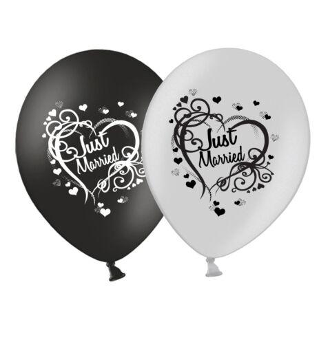 """Just Married-Corazón-Boda Negro Y Plateado De 12/"""" globos de látex Paquete de 25"""