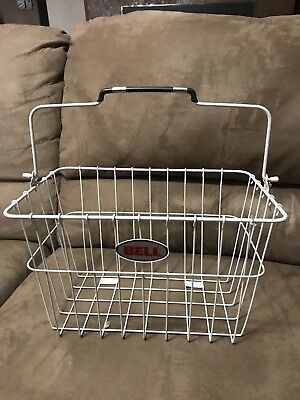107550 White Bicycle Front Basket Oval Steel Wire Basket w//Handle