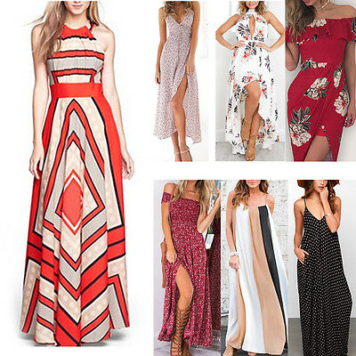 Womens Summer Boho Maxi Dress Evening Cocktail Party Beach Dresses Sundress Lot*
