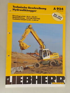 Data Sheet / Technical Description Liebherr Hydraulic Excavators A 924 From 02/