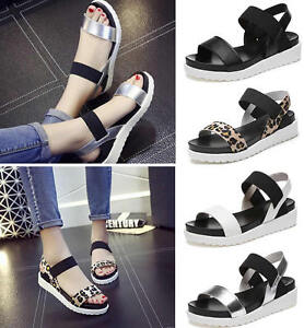 63bc3b58630 Womens Girl Open Toe Ankle Strap Flat Sandals Platform Shoes Wedges ...