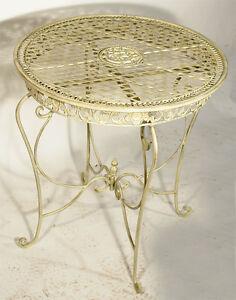eisen tisch rund metall gartentisch antik weiss ornament outdoor garden table ebay. Black Bedroom Furniture Sets. Home Design Ideas
