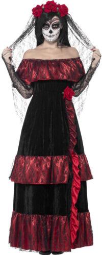Giorno dei morti da Donna Costume Deluxe NUOVO-DONNA CARNEVALE TRAVESTIMENTO kostü