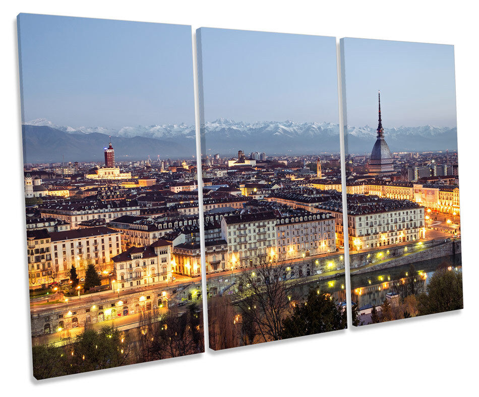 Turin  City Skyline CANVAS WALL ART TREBLE Box Frame Print