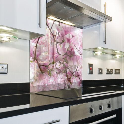 Cuisine Mur arrière anti-projections cuisine verre trempé fond de panier fleur nature ROSE