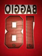 KIT BAGGIO 18 SUBLIMATIC X MAGLIA CALCIO MILAN LOTTO BIANCA GIALLA 1995-96-97-98