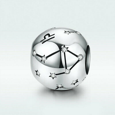 AAA Libra Women Pendant 925 Sterling Silver Constellation Charm CZ For Necklace