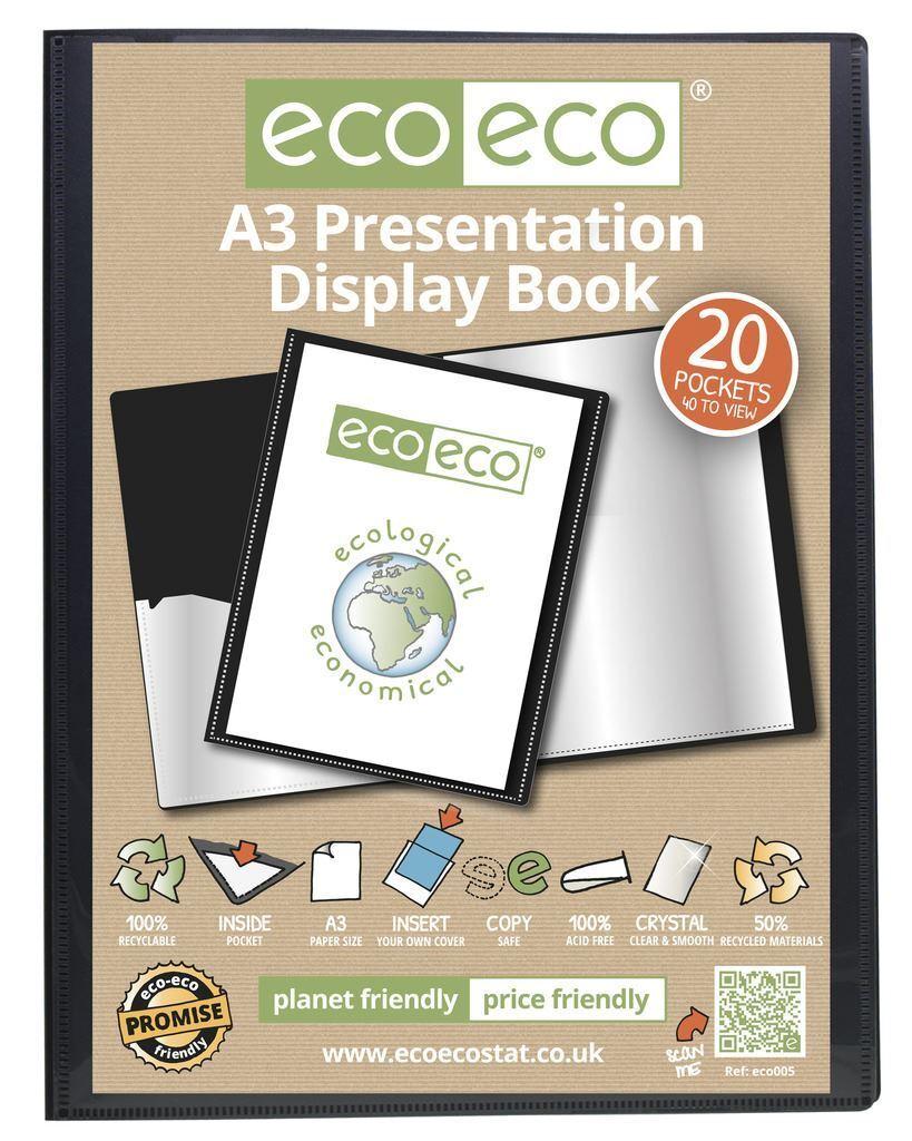 12 X eco-eco A3 50% 50% 50% reciclado 20 Bolsillo Negro Carpeta Presentación mostrar Libro 86c652