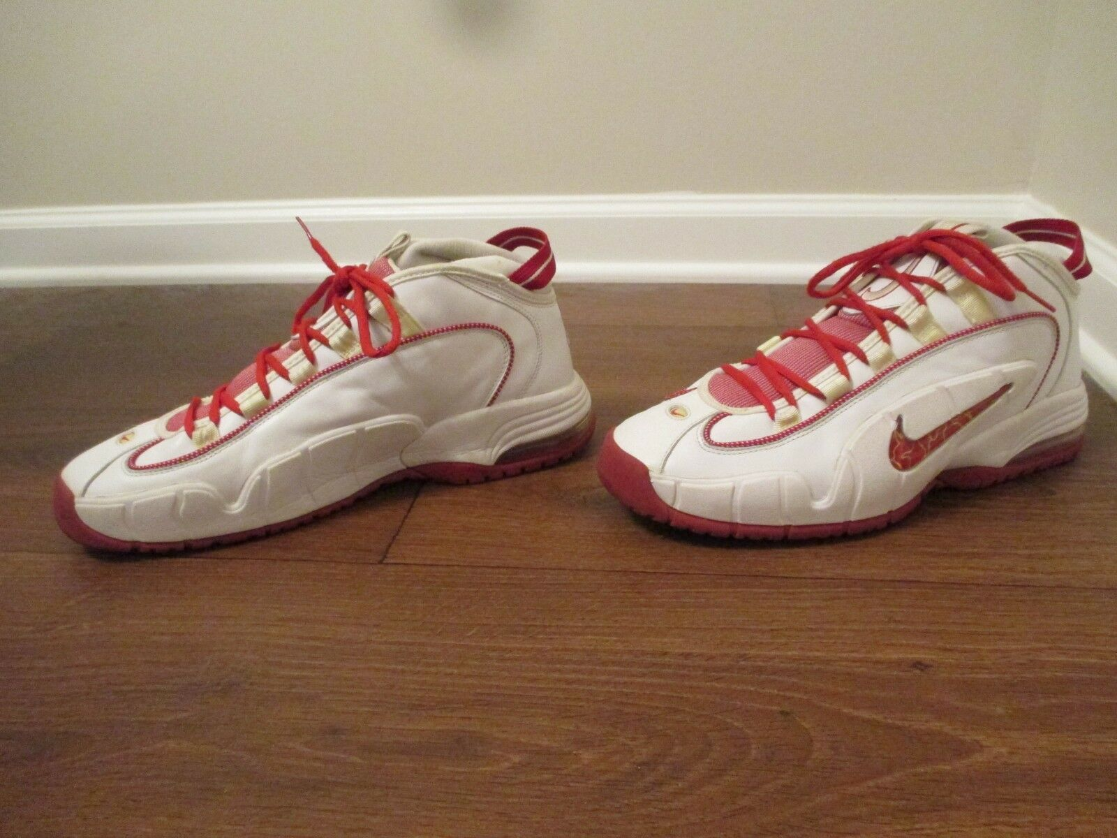 Classic 2005 Used Worn Size 13 Nike Air Max Penny shoes White & Varsity Red