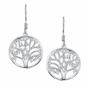 Sterling-Silver-Family-Tree-of-Life-Dangle-Drop-Earrings-with-Cubic-Zirconias-CZ