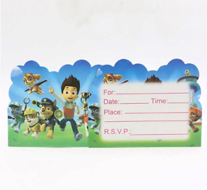 NEW-Pack-of-10-Paw-Patrol-Themed-Birthday-Card-Party-Invitations