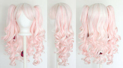 20'' Lolita Wig + 2 Pig Tails White and Cotton Pink Candy Mix Gothic Sweet NEW