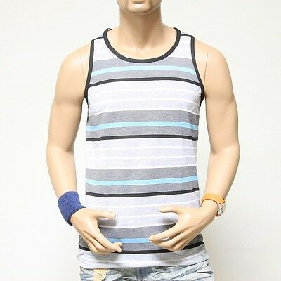 Mens Tank Top T-shirts Sleeveless Vest Tops  Multi Color Stripes A-Shirts S-XL