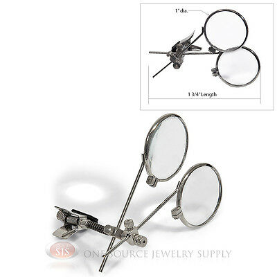 Double Lens Loopy Loupe 10X Power Magnifer Magnifying Glass Clip On Glasses