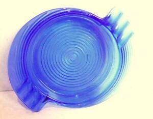 Art-Deco-Cobalt-Blue-Glass-Round-Ashtray-Vintage
