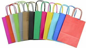 HANDLES CHRISTMAS BIRTHDAY WEDDING PARTY LOOT BAG PAPER GIFT CARRIER BAGS KRAFT