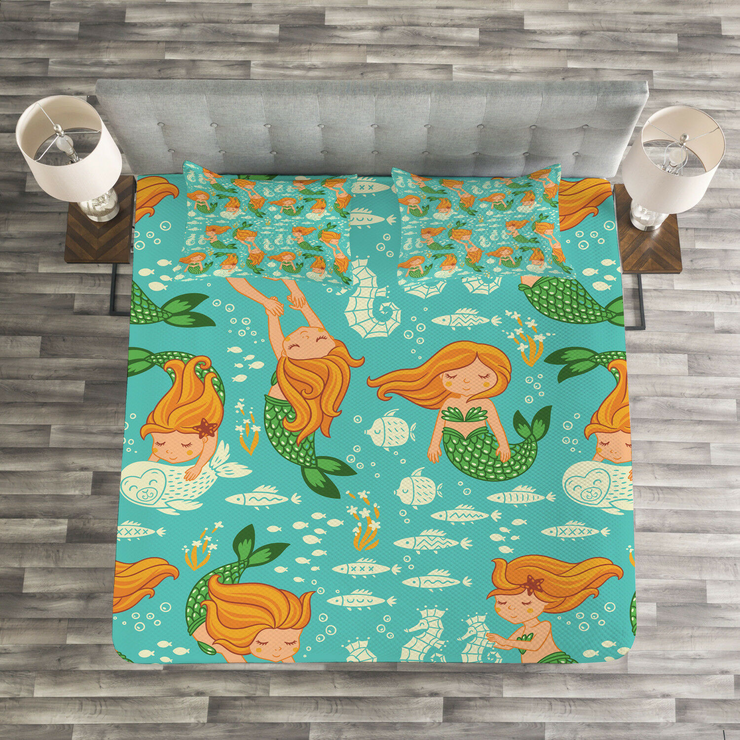 Mermaid Quilted Bedspread & Pillow Shams Set, Cartoon Character Sea Print
