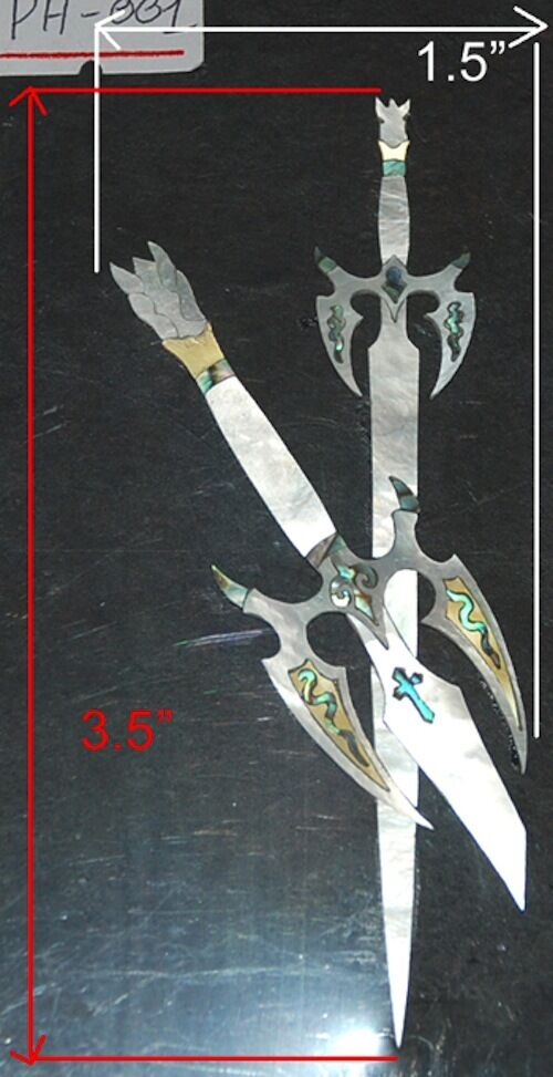 PH1  Swords Headstock Inlay In Gold, Weiß Mother of Pearl & Abalone 1.5mm thick