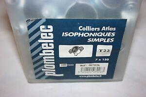 100 Collier Atlas Simple Isophonique Acier Zingué 7 X 150 Mm Ø 22 Mm Plombelec