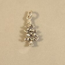 .925 Sterling Silver 3-D PINE TREE CHARM Pendant Nature Christmas NEW 925 GA84