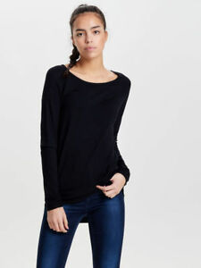 Only-Long-Knitted-Pullover-Black-Size-XS-UK-4-rrp-20-DH182-KK-01