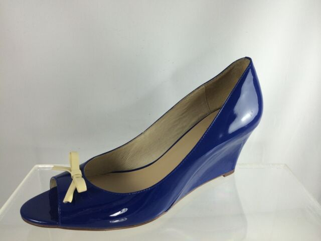 76979696e850 Kate Spade Blue cobalt Patent Leather With White Bow Shoes 11 M for ...