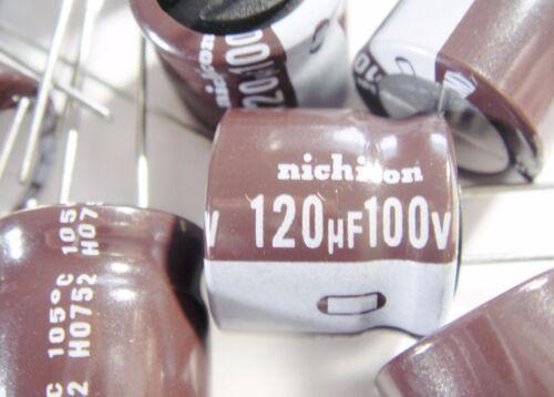 10 x 120uF 100V 105°C ELKO radial Nichicon Japan #3E71