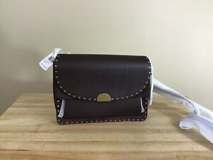 Coach-Dreamer-Mixed-Leather-Boarder-Rivet-Flap-Shoulder-Bag-Brass-Oxblood-NWT
