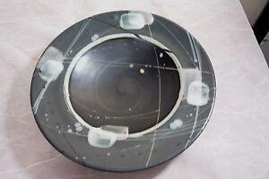 Cunningham-Art-Studio-Pottery-Bowl-Vintage-1990-Dish-Signed-Black-Pastel