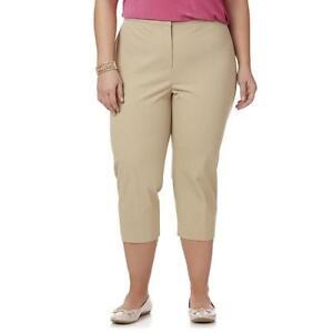 b5ac15f6f0e42 Women s Simply Emma Plus Stretch Capri Pants Khaki Size 18W