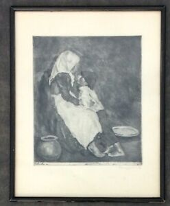 'Brother and Sister' Etching Signed by Fenyes Adolf in Pencil