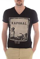 T Shirt Kaporal Homme Manches Courtes Kitch Noir , S M L Xl Xxl