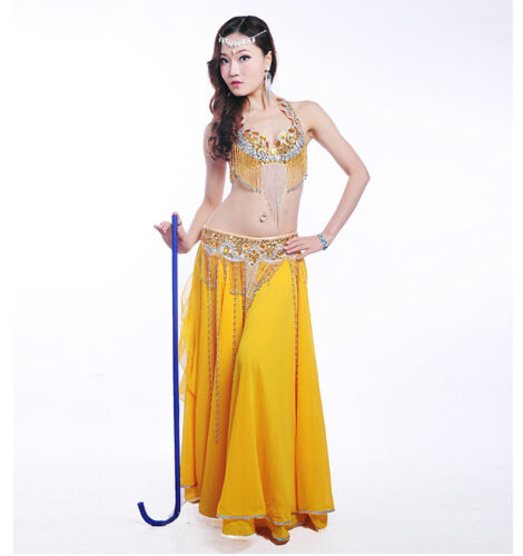 B /& D CUP HOT Belly Dance Costume Outfit Set Bra Belt Carnival Bollywood 3PCS