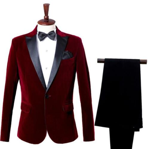 Mens Blazer Suit Casual One Button Wedding Business Formal Jacket Coat Pant 2Pcs