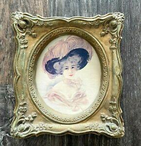Vtg Gold Gilt Ornate Picture Frame Chalkware ? Baroque Rococo Victorian Lady P