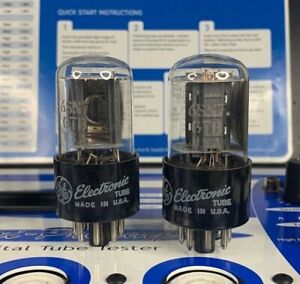 2 GE 6SN7GTB Gain & Gm Matched Pair - Noise Tested Vintage USA Vacuum Tubes