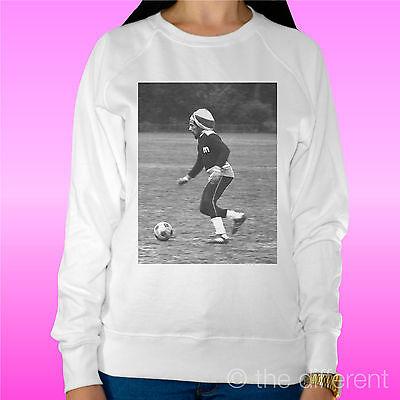 "Originale Felpa Donna Leggera Sweater Bianco "" Bob Marley Soccer "" Road To Happiness"