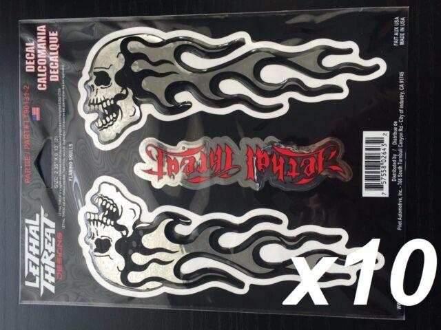 X10 Lethal Threat Flaming Skull Chrome Domed Body Decal Set Emblem Logo Sticker For Sale Online