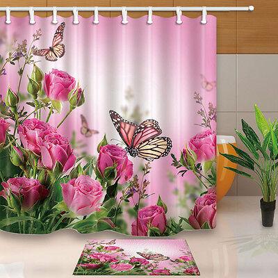Butterflies and roses Shower Curtain Bathroom Decor Waterproof /& bath mat new