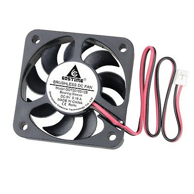 12V 2Pin 50mm 50x50x10mm 5cm 9 Blades Small Brushless PC Computer Cooling Fan