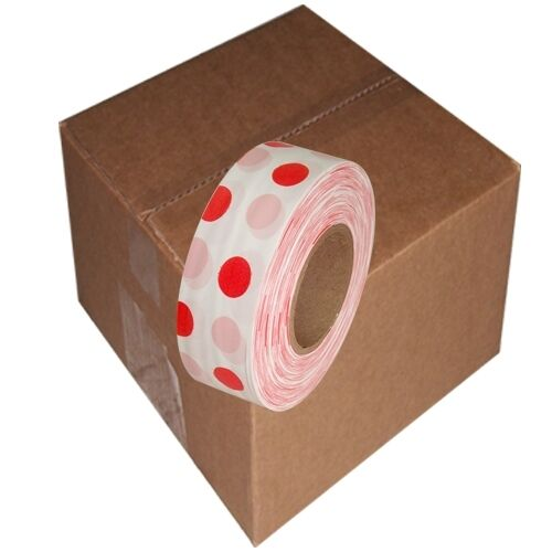White   Red 12 Rolls Flagging Polka Dot Tape 1 3 16 in x 300 ft Non-Adhesive