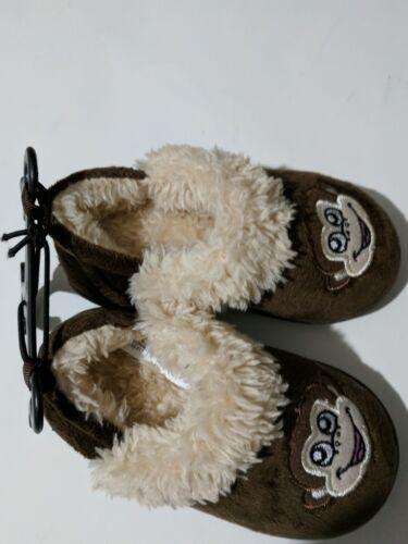 Kids boy girl fuzzy warm comfy monkey slippers size S 5-6 NEW
