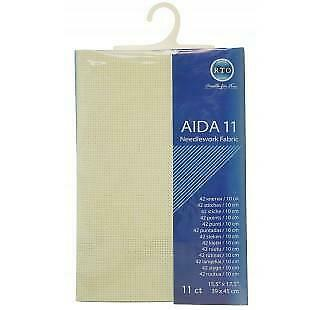 RTO prepacked Aida Cross stitch fabric ECRU 11 count 15.5/'/' x 17.5/'/' 39cm x 45