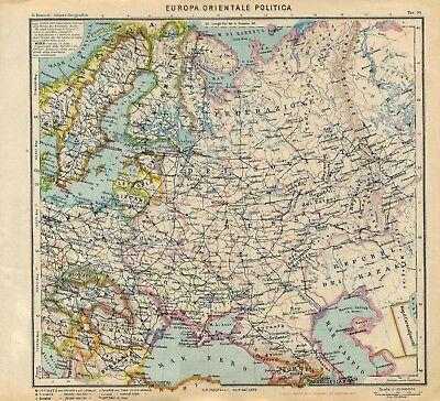 Cartina Europa Orientale Fisica.Carta Geografica Antica Europa Orientale Occupata Paravia 1941 Old Antique Map Ebay