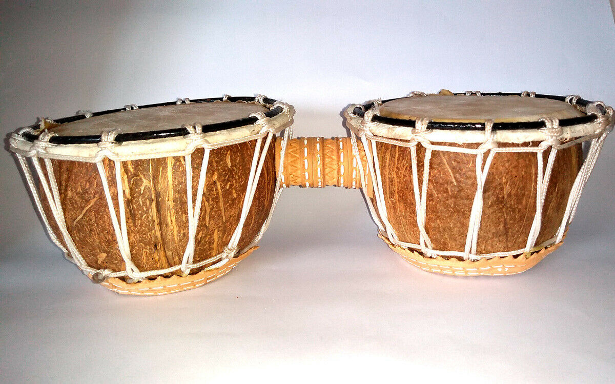 Brazilian Percussion Instruments - Bongo of coconut shell with rope - 30x12x08cm