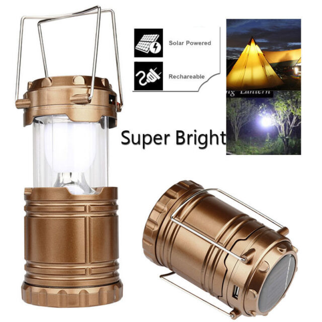 6 LED Solar Charging Light Rechargeable Lamp USB Outdoor Camping Tent Lantern UK