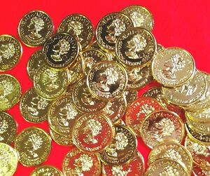 Lot-100-toy-plastic-coin-GOLD-Pirate-Doubloons-Treasure-Roman-pretend-money-NEW