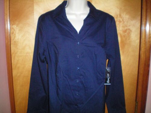 NWT NEW womens navy blue GEORGE fitted stretch l//s shirt wrinkle resistant
